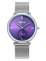 cheap -women's silver stainless steel woven mesh strap wrist watch simple design analog display quartz watch