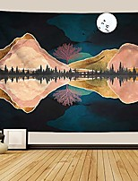 cheap -mountain tapestry lake and moon landscape tapestry night sky tapestry nature tapestry wall hanging psychedelic forest tapestry for bedroom dorm room, 51 x 59 inch