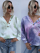 cheap -Women's T shirt Tie Dye Shirt Sweatshirt Tee / T-shirt Pullover Oversized Color Block Tie Dye Cute Sport Athleisure Top Long Sleeve Comfortable Everyday Use Daily Outdoor