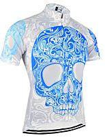 cheap -21Grams Men's Short Sleeve Cycling Jersey Sky Blue+White Bike Jersey Top Mountain Bike MTB Road Bike Cycling UV Resistant Breathable Quick Dry Sports Clothing Apparel / Stretchy