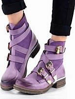 cheap -Women's Boots Wedge Heel Round Toe Classic Daily Solid Colored PU Booties / Ankle Boots Purple / Blue