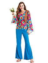 cheap -Hippie Disco Retro Vintage Hippie Disco 1980s Summer Outfits Masquerade Women's Costume Blue Vintage Cosplay Party Halloween Masquerade Long Sleeve / Vest / Top / Pants