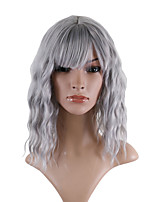 cheap -Synthetic Wig Loose Curl Asymmetrical With Bangs Wig Medium Length Grey Synthetic Hair 14 inch Women's Fashionable Design Romantic Fluffy Gray