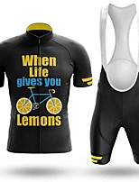 cheap -Men's Short Sleeve Cycling Jersey with Bib Shorts Black / Yellow Bike Breathable Sports Mountain Bike MTB Road Bike Cycling Clothing Apparel / Triathlon