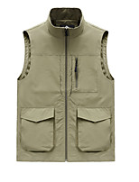 cheap -Men's Hiking Vest / Gilet Summer Outdoor Solid Color Thermal Warm Windproof Breathable Comfortable Top Single Slider Camping / Hiking Fishing Traveling Black / Army Green / Grey / Khaki