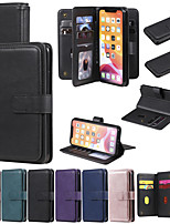 cheap -Case For Apple iPhone 12 / iPhone 12 Mini / iPhone 12 Pro Max Wallet / Shockproof / with Stand Full Body Cases Solid Colored PU Leather / TPU