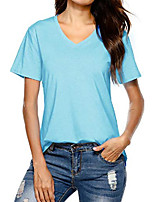 cheap -women& #39;s cotton short sleeve v-neck shirts casual tee t-shirt& #40;cyan-blue l& #41;