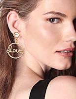 cheap -Women's Drop Earrings Hoop Earrings Earrings Hollow Out Fashion Alphabet Shape Wedding Luxury Punk Trendy Romantic Fashion Pearl Earrings Jewelry Gold For Birthday Gift Date Street Promise 1 Pair