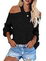 cheap -womens long sleeve cold shoulder halter neck hand knit light sweater tops sexy pullover backless loose jumper sweaters black large