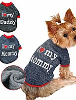 cheap -dog clothes,love dad and mom costume sweater soft warm fleece clothing winter coat for cats puppy small dogs (love mom)