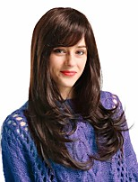 cheap -Human Hair Blend Wig Long Curly With Bangs Brown Party Women New Arrival Capless Women's Chestnut Brown