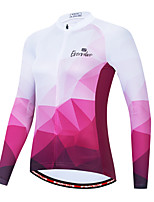 cheap -Women's Long Sleeve Cycling Jersey White Bike Quick Dry Sports Geometic Clothing Apparel / Micro-elastic