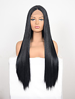 cheap -Synthetic Wig kinky Straight Natural Straight Middle Part Wig Long Black Synthetic Hair 30 inch Women's Fashionable Design Classic Easy to Carry Black