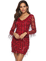 cheap -Women's Wrap Dress Short Mini Dress - Long Sleeve Solid Color Sequins Fall V Neck Elegant Party 2020 Wine S M L XL XXL