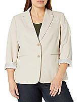 cheap -women's 2 button roll sleeve jacket, tan, 6
