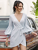 cheap -Women's Wrap Dress Short Mini Dress - Long Sleeve Solid Color Summer V Neck Sexy Going out Puff Sleeve Slim 2020 White One-Size