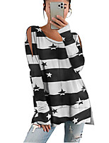 cheap -Women's Tunic Star Long Sleeve Cut Out Print Round Neck Tops Loose Basic Basic Top Black Purple Red