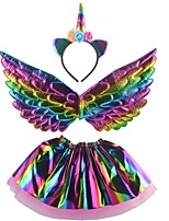 cheap -Unicorn Wings Halloween Props Girls' Movie Cosplay Headpieces Stage Props Golden / Silver / Rainbow Skirts Wings Headwear Christmas Halloween Carnival Plastics