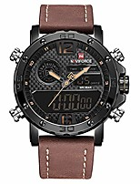 cheap -men's digital sports watch waterproof multi-function watch with leather strap military wrist watch for men