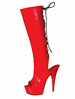 cheap -Women's Boots Pumps Peep Toe Sexy Party & Evening Solid Colored PU Mid-Calf Boots White / Black / Red