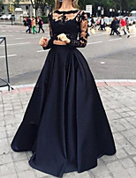 cheap -Two Piece Floral Sexy Wedding Guest Formal Evening Dress Illusion Neck Long Sleeve Floor Length Lace Satin with Pleats Appliques 2020