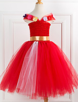 cheap -Princess Dress Costume Girls' Movie Cosplay Plaited Vacation Dress Red Dress Christmas Halloween Carnival Polyester / Cotton Polyester