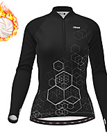 cheap -21Grams Women's Long Sleeve Cycling Jersey Winter Fleece Polyester Black Gradient Geometic Bike Jersey Top Mountain Bike MTB Road Bike Cycling Thermal Warm Fleece Lining Breathable Sports Clothing