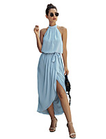 cheap -Women's Chiffon Dress Maxi long Dress - Sleeveless Solid Color Backless Summer Halter Neck Casual Sexy Going out Slim 2020 Navy Blue Light Blue S M L XL XXL