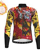 cheap -21Grams Men's Long Sleeve Cycling Jacket Winter Fleece Yellow Bike Jacket Top Mountain Bike MTB Road Bike Cycling Fleece Lining Warm Sports Clothing Apparel / Micro-elastic