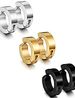 cheap -stainless steel mens womens clip on earrings hoop huggie non-piercing 3 pairs a set