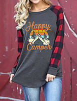 cheap -Women's Tunic Abstract Plaid Check Long Sleeve Print Round Neck Tops Basic Basic Top Gray