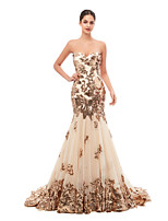 cheap -Mermaid / Trumpet Vintage Sexy Engagement Prom Dress Sweetheart Neckline Sleeveless Court Train Tulle Sequined with Sequin Appliques 2020