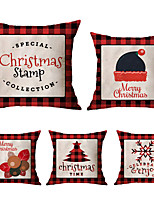 cheap -1 Set of 5 pcs Christmas Series Decorative Linen Throw Pillow Cover 18 x 18 inches 45 x 45cm For Home Decoration Christmas Decoration