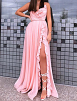 cheap -A-Line Minimalist Sexy Wedding Guest Formal Evening Dress V Neck Sleeveless Sweep / Brush Train Stretch Satin with Pleats Ruffles Split 2020