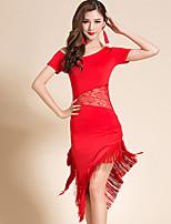 cheap -Latin Dance Dress Lace Tassel Bandage Women's Training Performance Short Sleeve Milk Fiber