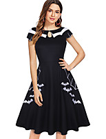 cheap -A-Line Color Block Vintage Party Wear Cocktail Party Dress Jewel Neck Short Sleeve Knee Length Cotton with Pleats Pattern / Print 2020