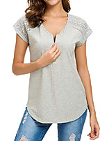 cheap -women lace shirt plain casual summer short sleeve zip up v neck cotton, grey, x-large