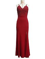 cheap -Mermaid / Trumpet Elegant Minimalist Party Wear Formal Evening Dress Spaghetti Strap Sleeveless Floor Length Lace with Split 2020