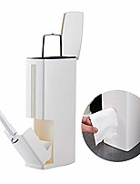 cheap -smart trash can 4 in 1 plastic garbage can bathroom accessories set, comes with toilet brush and garbage bag storage container-brown …