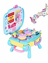 cheap -3-in-1 chef role play set, toy cooking pan toy knife and play kitchen toy utensils pretend play workbench & pull bar box backpack kitchen set for kids, girls, boys & toddlers (multicolor)