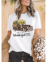 cheap -Women's T-shirt Leopard Graphic Prints Cheetah Print Print Round Neck Tops 100% Cotton Basic Basic Top White