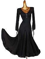 cheap -Ballroom Dance Dress Ruching Split Joint Women's Training Long Sleeve Chinlon Chiffon Tulle