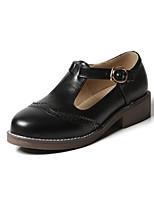 cheap -Women's Heels Block Heel Round Toe British Daily Solid Colored PU Black / Brown / Beige