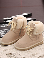 cheap -Boys' / Girls' Boots Combat Boots Cowhide Little Kids(4-7ys) Walking Shoes Black / Pink / Beige Fall / Winter / Booties / Ankle Boots