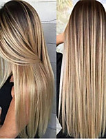 cheap -Synthetic Wig kinky Straight Middle Part Wig Very Long Blonde Synthetic Hair 28 inch Women's Fashionable Design Ombre Hair Exquisite Blonde