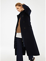 cheap -Women's Fall & Winter Double Breasted Notch lapel collar Coat Long Solid Colored Daily Basic Navy Blue S M L XL