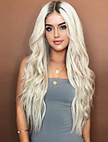 cheap -Synthetic Wig Body Wave Middle Part Wig Long Very Long Grey Synthetic Hair 65 inch Women's Party Dark Roots Middle Part Gray