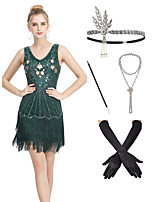 cheap -The Great Gatsby Vintage 1920s Flapper Dress Outfits Masquerade Women's Tassel Fringe Costume Dark Green Vintage Cosplay Party Prom / Gloves / Headwear / Necklace / Cigarette Stick