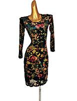 cheap -Latin Dance Dress Pattern / Print Women's Performance Long Sleeve Spandex