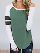 cheap -Women's Sweatshirt Patchwork Crew Neck Color Block Sport Athleisure Pullover Long Sleeve Warm Soft Comfortable Everyday Use Daily General Use